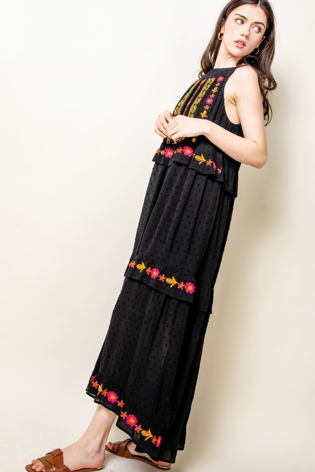 Thml Embroidered Halter Maxi Dress - Front Full Image