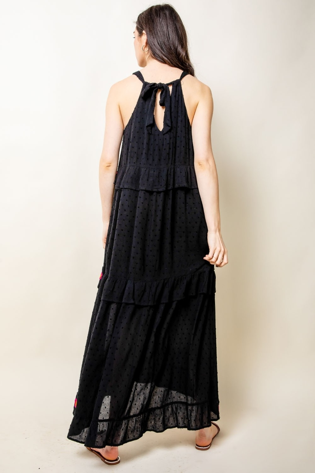 Thml Embroidered Halter Maxi Dress - Back Cropped Image