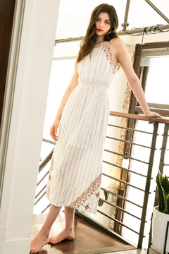 Shoptiques Product: Embroidered Halter Midi Dress