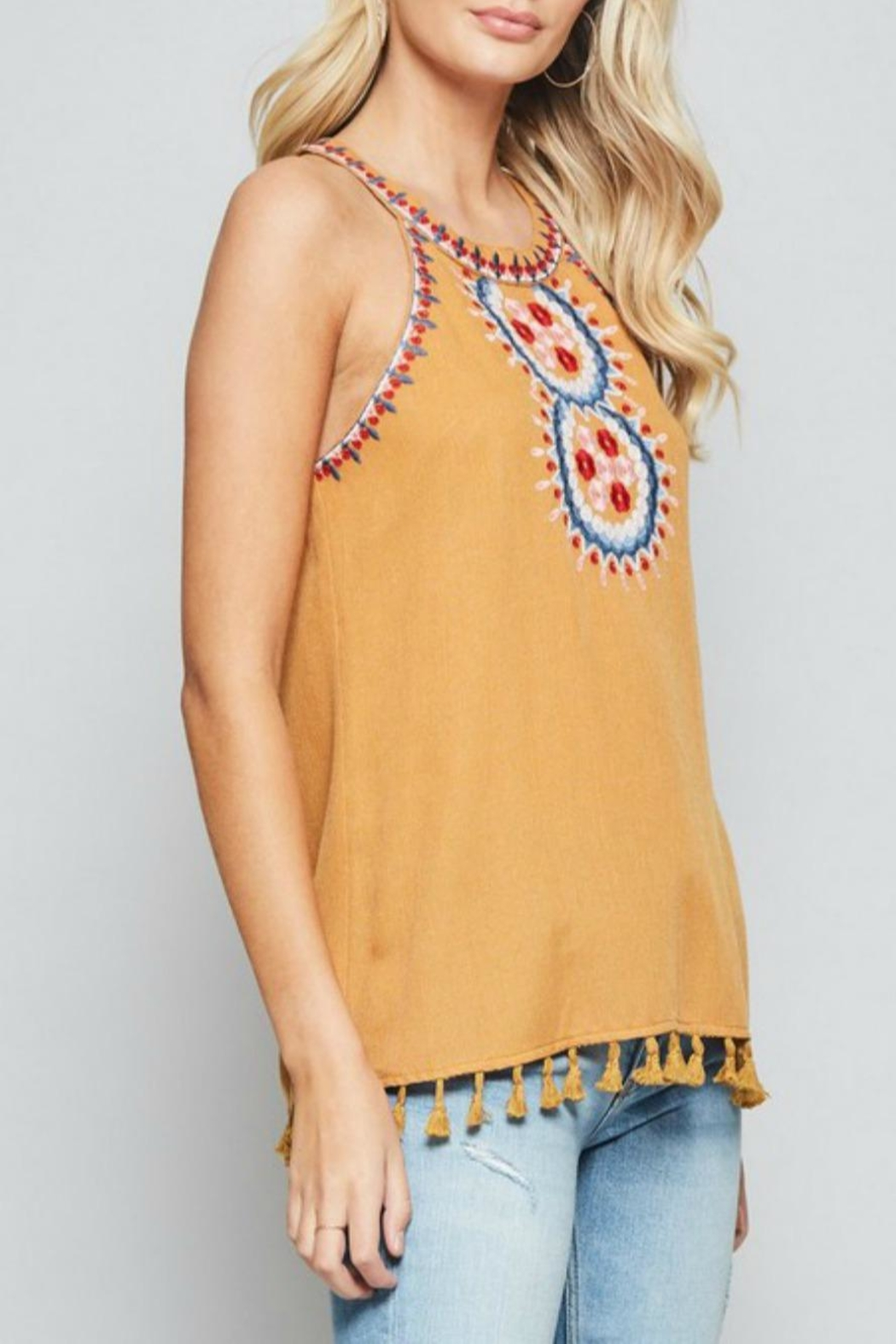 Andree by Unit Embroidered Halter Tank - Front Full Image
