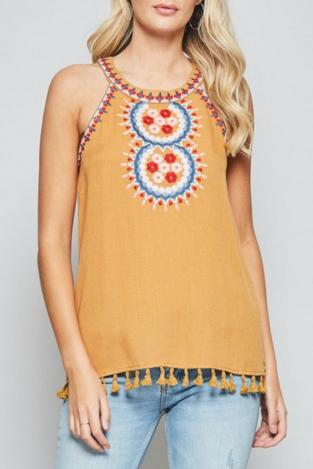 Andree by Unit Embroidered Halter Tank - Main Image