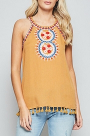 Andree by Unit Embroidered Halter Tank - Front cropped