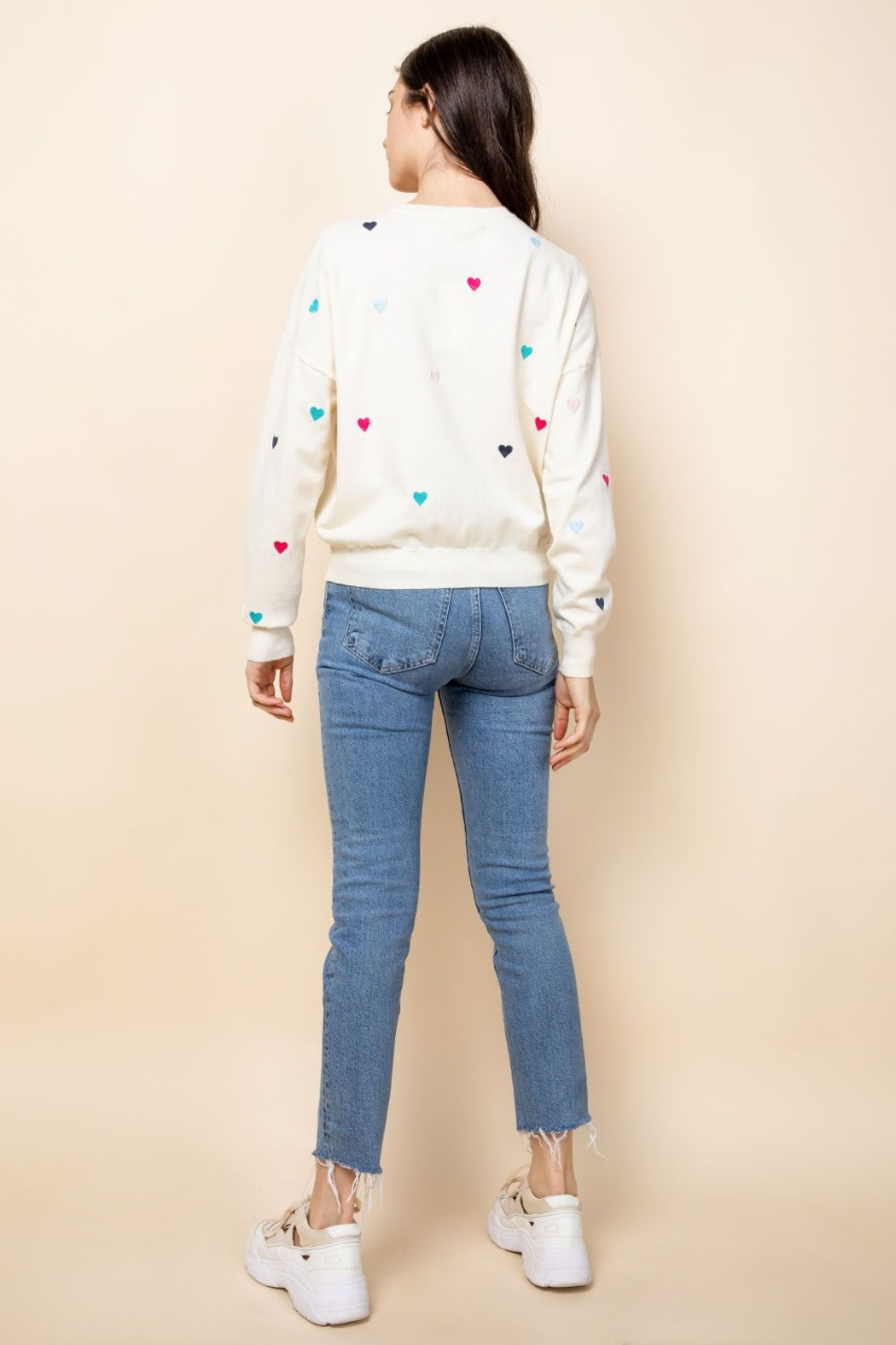 Thml Embroidered Heart Sweater - Back Cropped Image