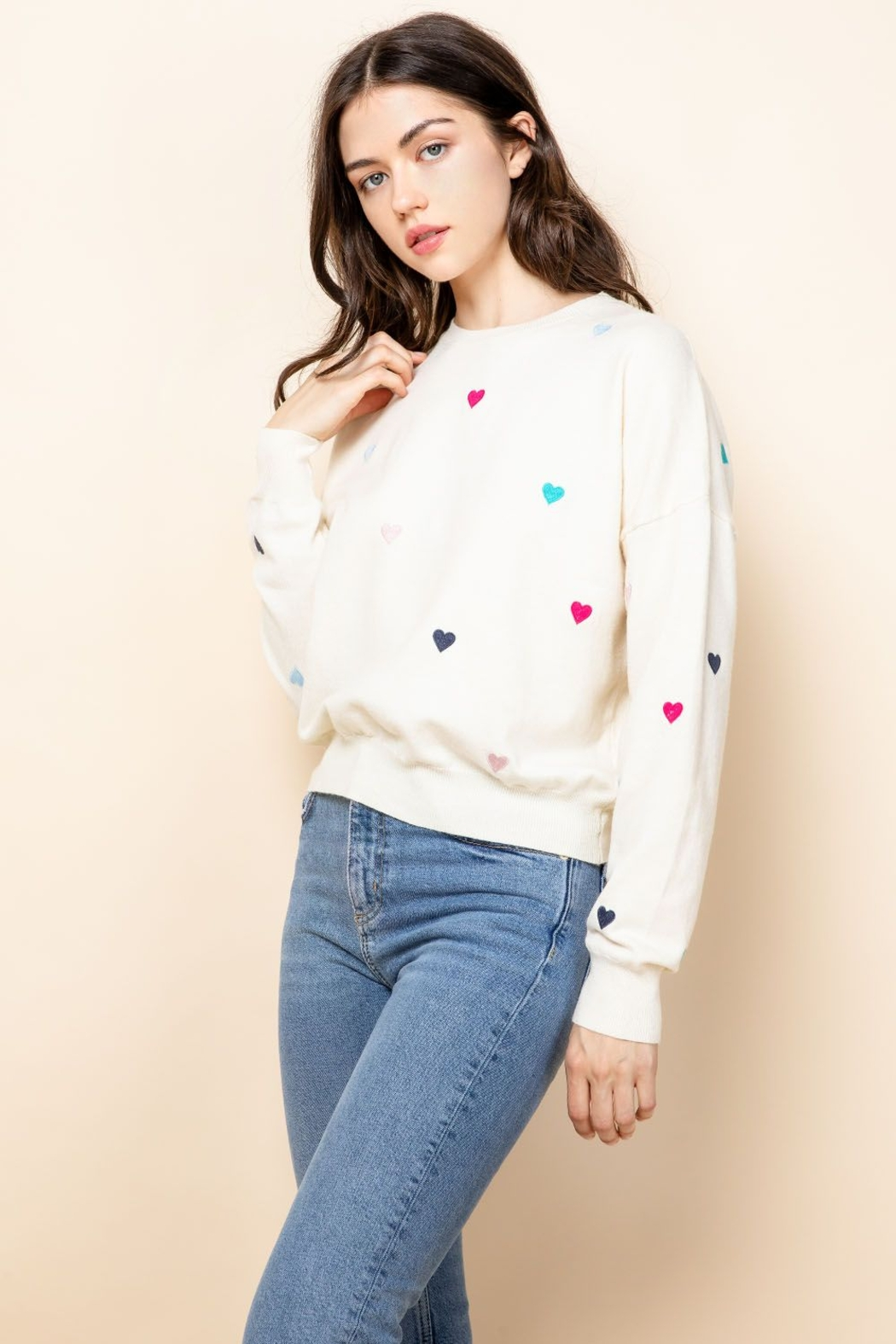 Thml Embroidered Heart Sweater - Side Cropped Image
