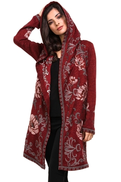 Shoptiques Product: Embroidered Hoodie Cardigan