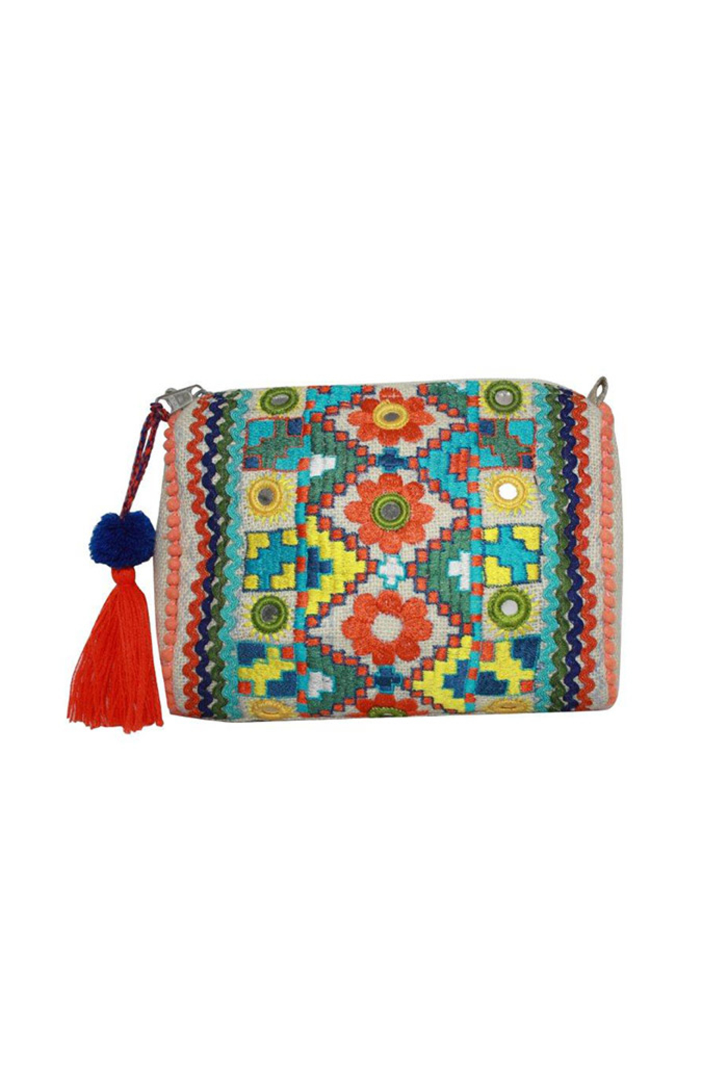 America & Beyond Embroidered Jute Pouch - Main Image