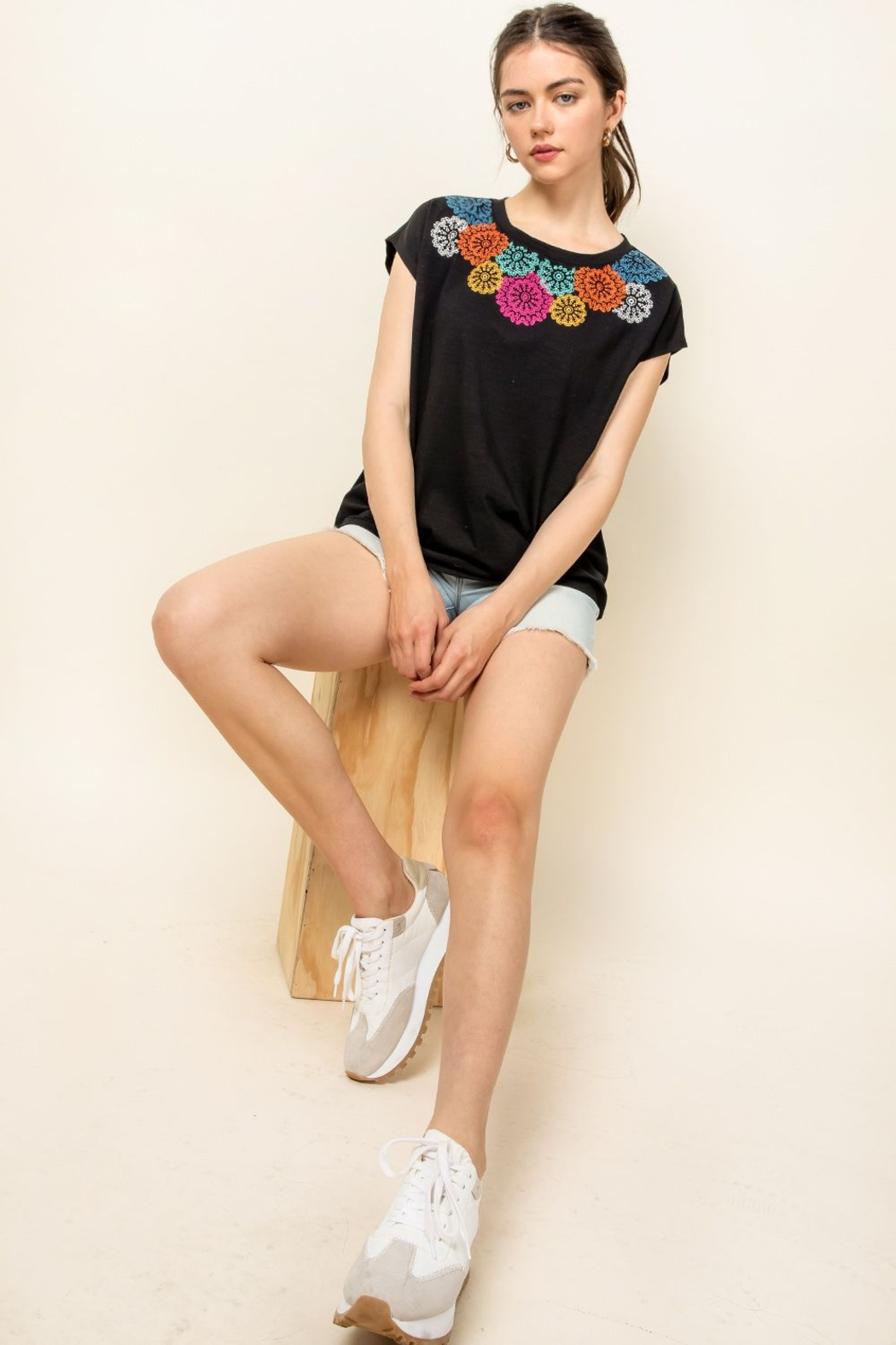 Thml Embroidered Knit Top - Front Full Image