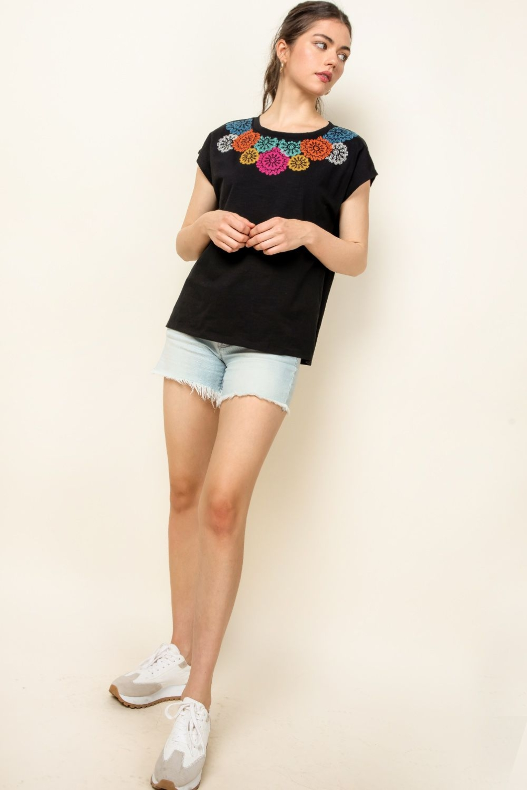 Thml Embroidered Knit Top - Back Cropped Image
