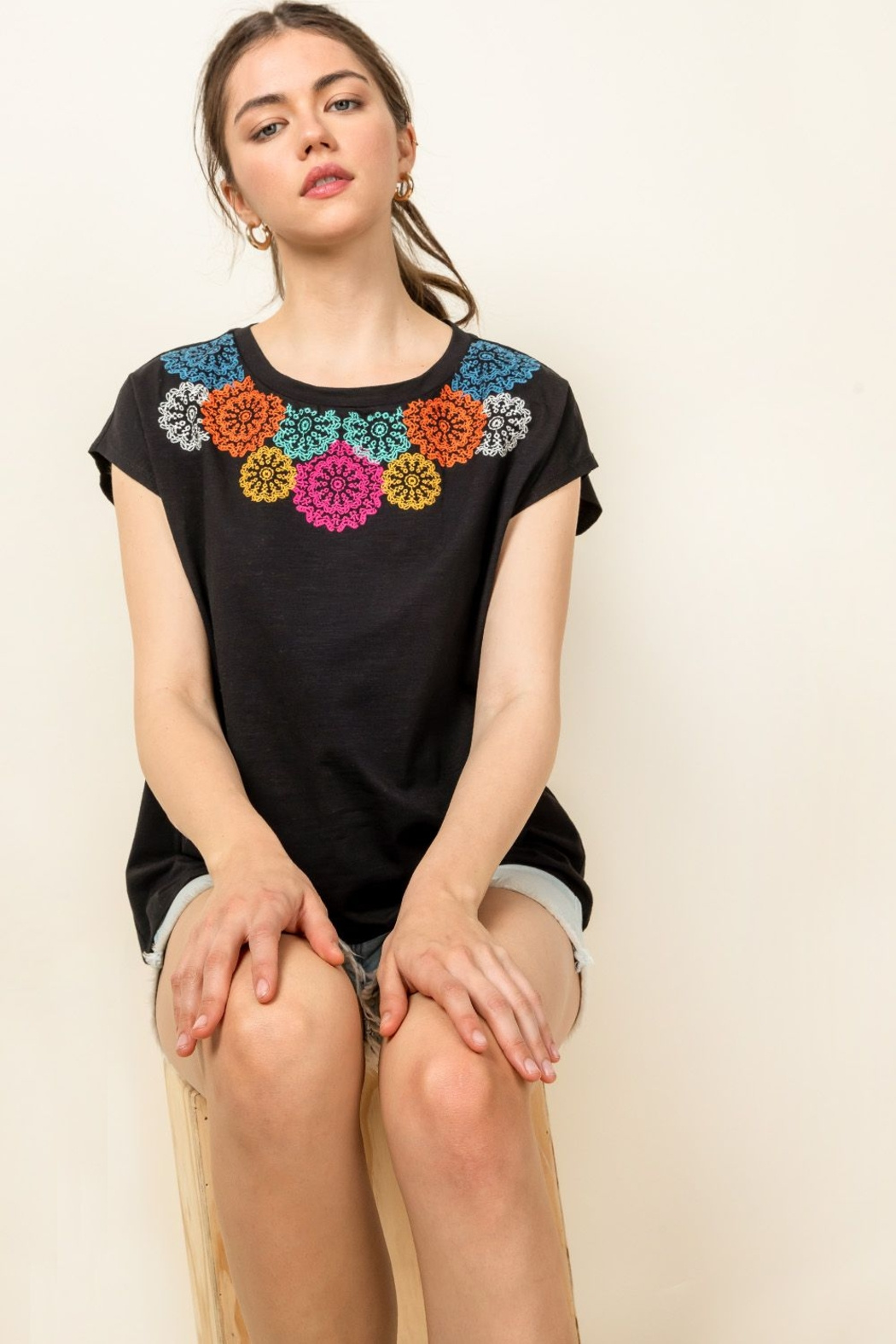 Thml Embroidered Knit Top - Side Cropped Image