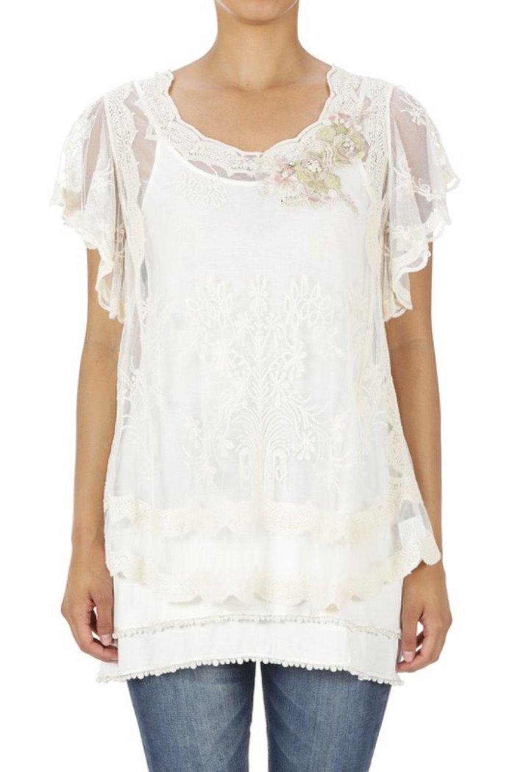 Origami Embroidered Lace Blouse - Main Image