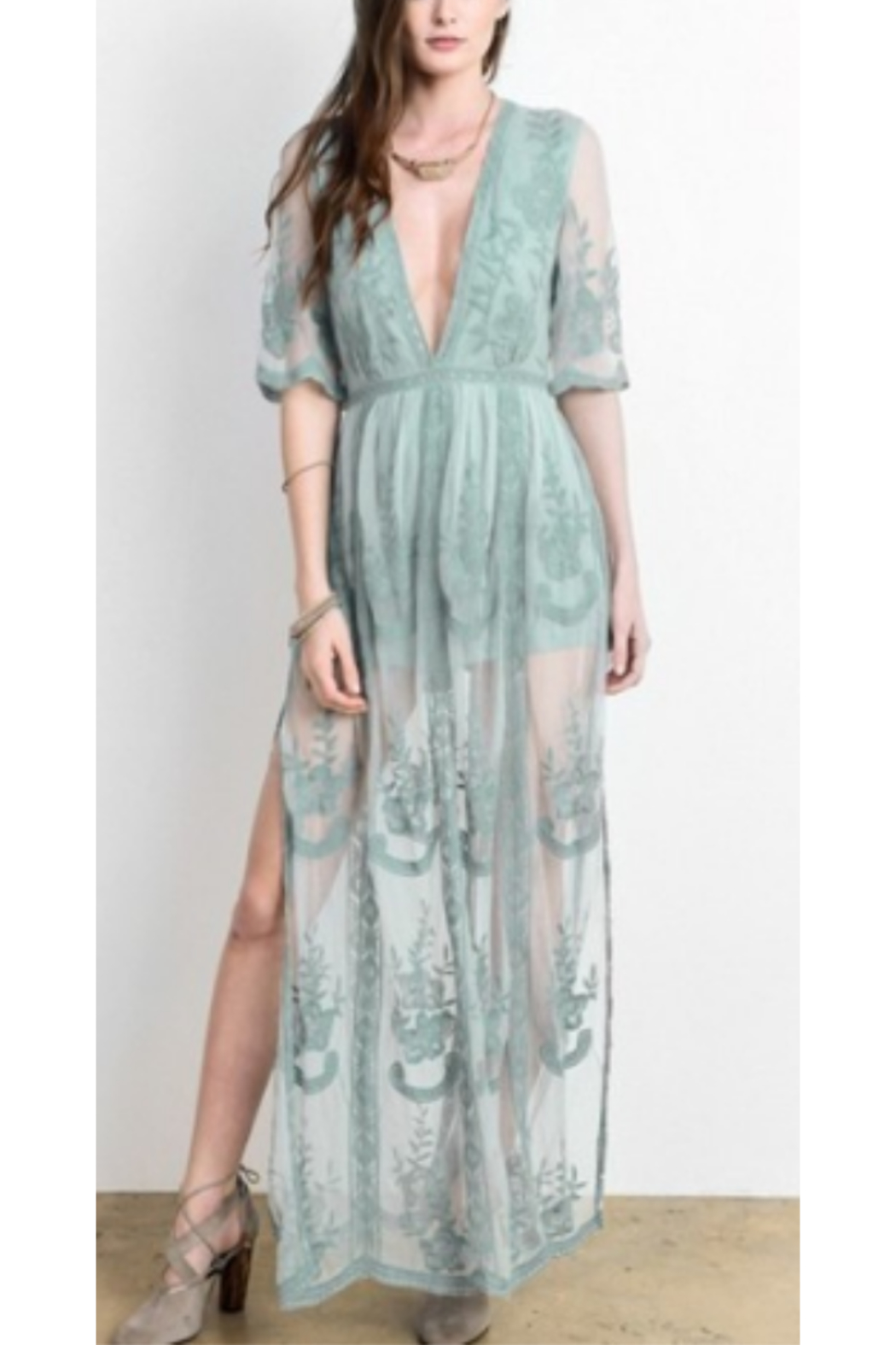 Wishlist Embroidered Lace Maxi Dress - Front Cropped Image