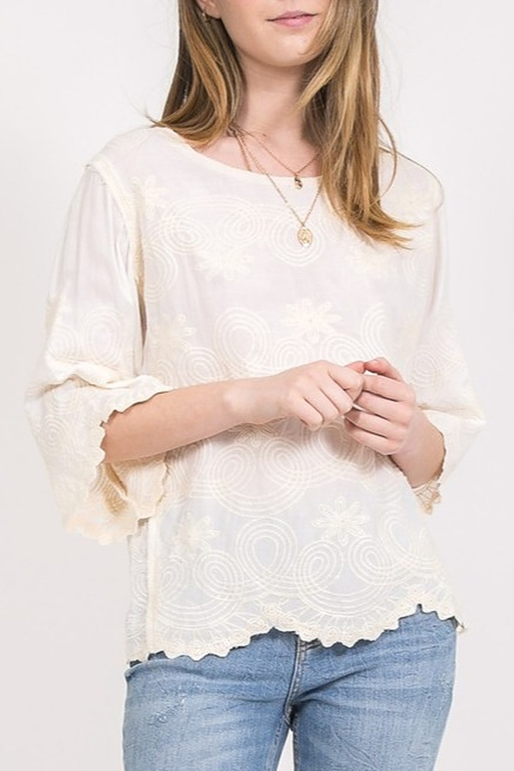 Very J Embroidered Lace Top - Front Cropped Image