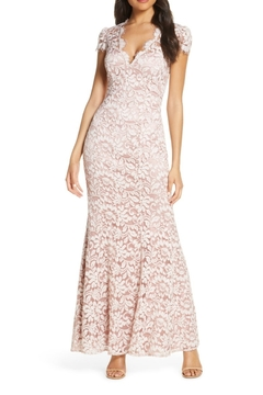 Eliza J Embroidered Lace Trumpet Gown - Product List Image