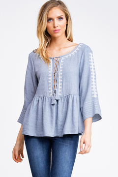 MONTREZ EMBROIDERED LACE-UP PEPLUM TOP - Product List Image