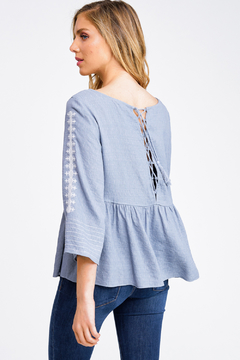 MONTREZ EMBROIDERED LACE-UP PEPLUM TOP - Alternate List Image