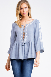 MONTREZ EMBROIDERED LACE-UP PEPLUM TOP - Product Mini Image