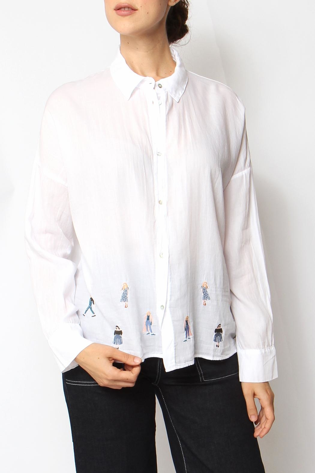 Acoté Embroidered Lady Button-Down - Front Cropped Image