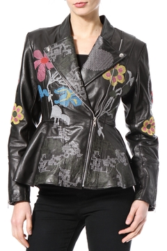 Madonna & Co Embroidered Leather Moto - Product List Image