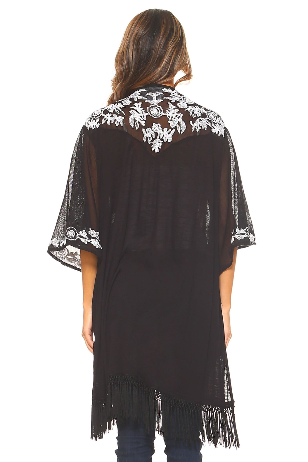 Sloane Rouge Embroidered Long Cardigan - Back Cropped Image