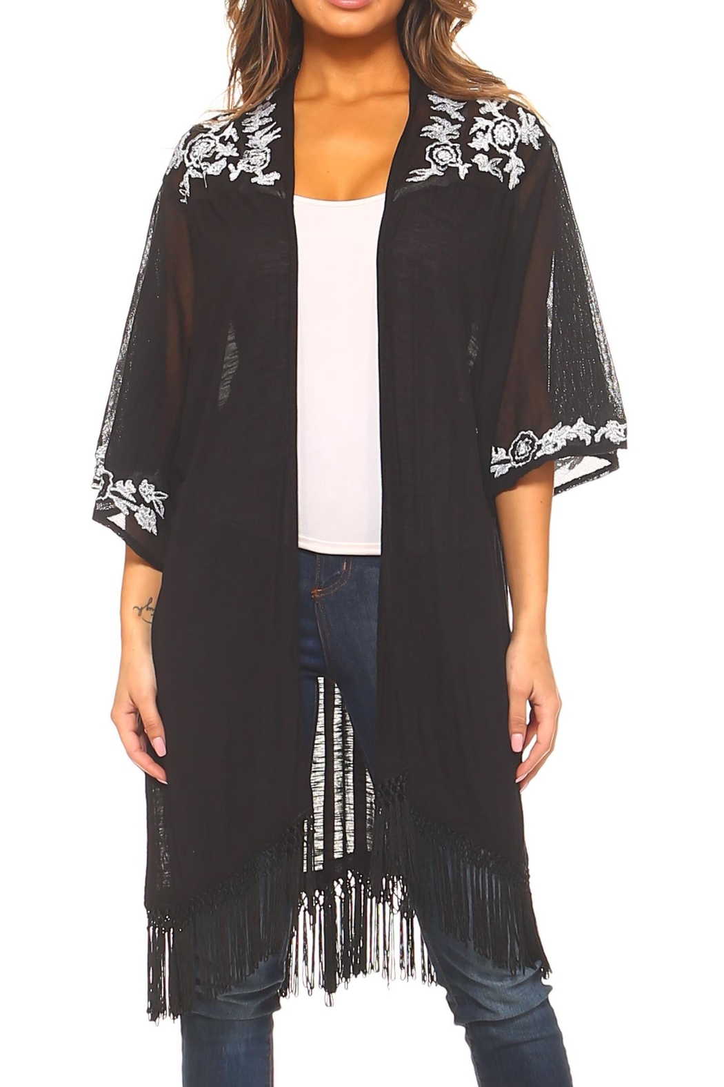 Sloane Rouge Embroidered Long Cardigan - Main Image