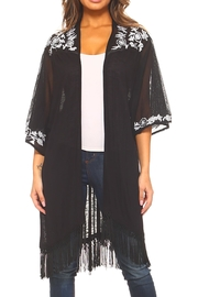 Sloane Rouge Embroidered Long Cardigan - Front cropped