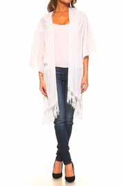 Sloane Rouge Embroidered Long Cardigan - Front full body
