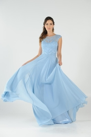 POLY USA Embroidered Long Formal Dress with Slit - Product Mini Image