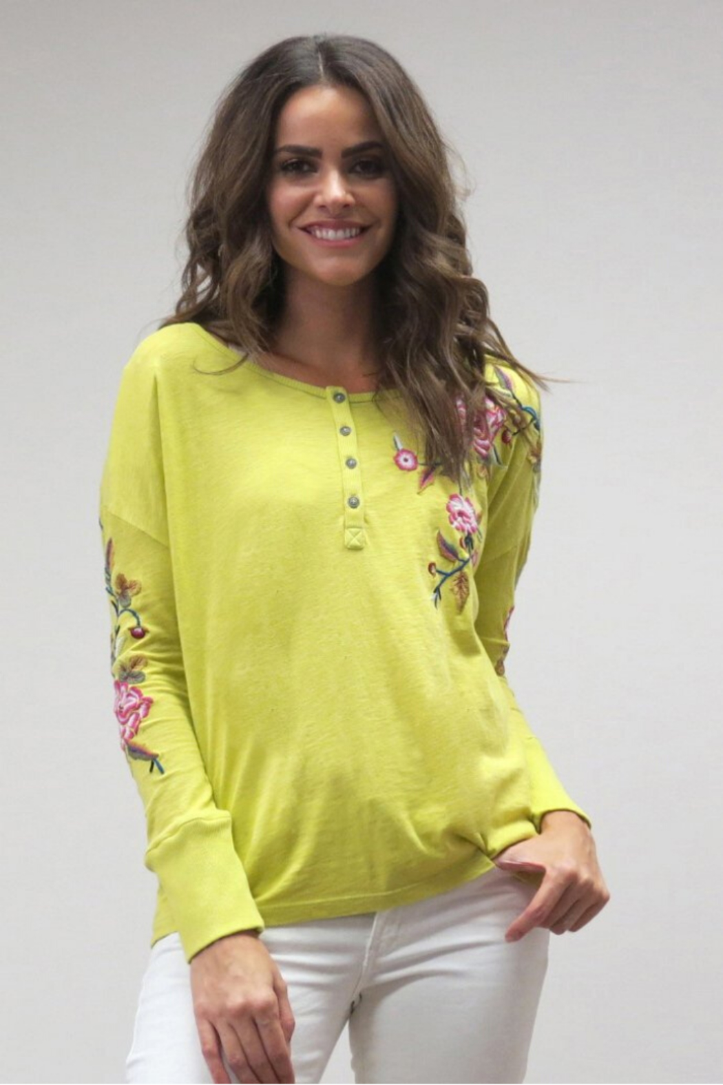 Caite Embroidered Long Sleeve Top - Main Image