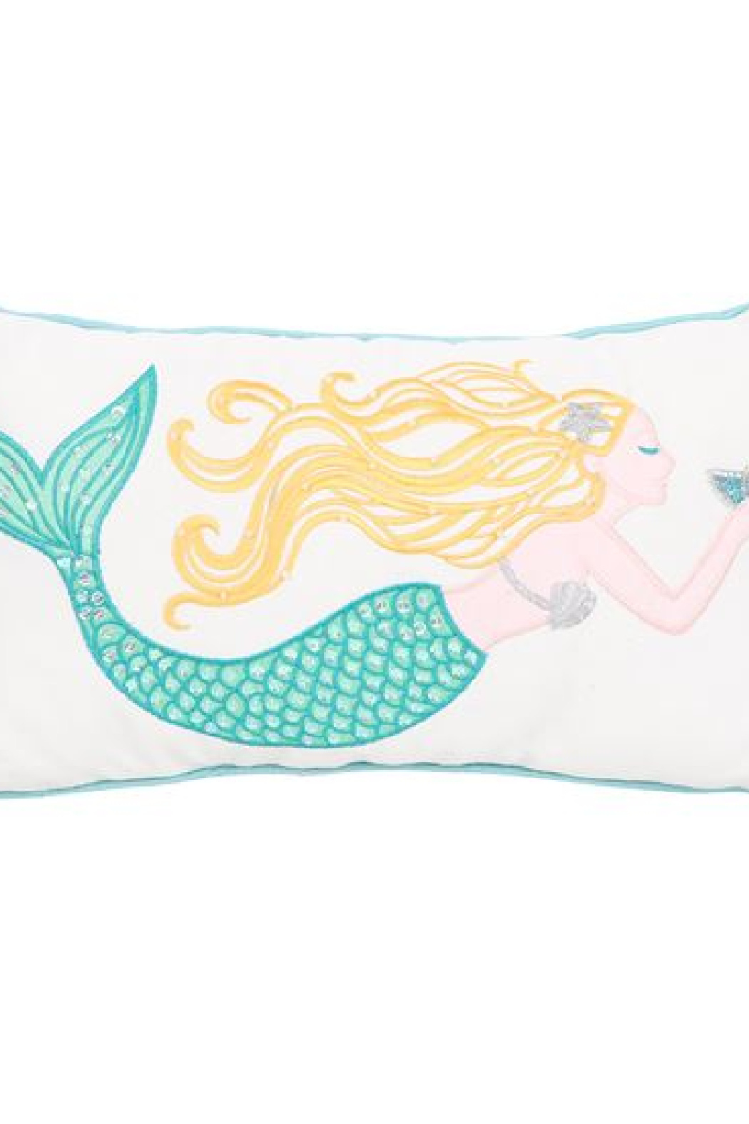 DEI Embroidered Mermaid Accent Pillow - Front Cropped Image