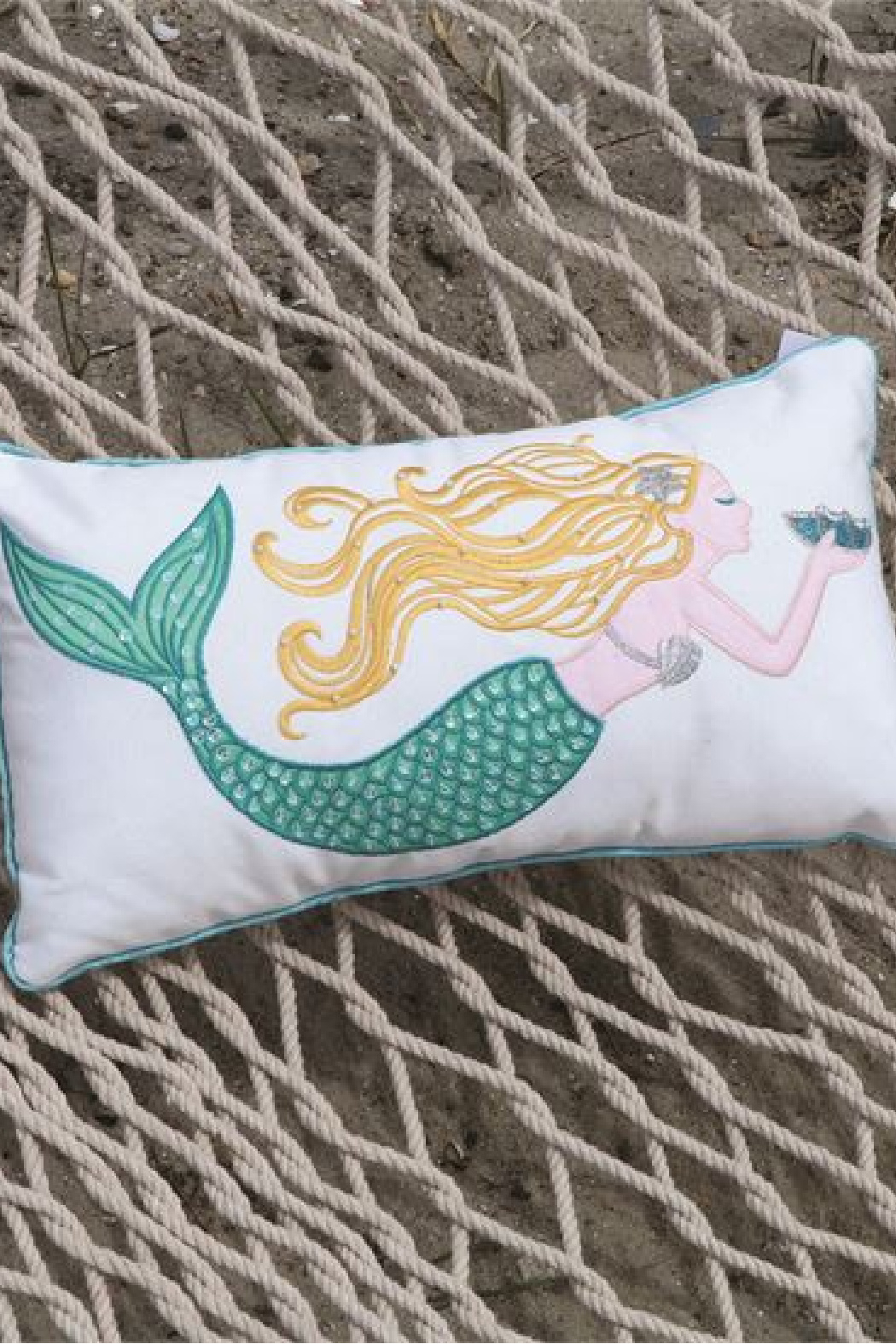 DEI Embroidered Mermaid Accent Pillow - Front Full Image