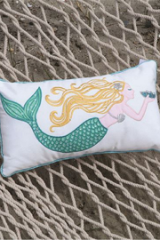 DEI Embroidered Mermaid Accent Pillow - Front full body