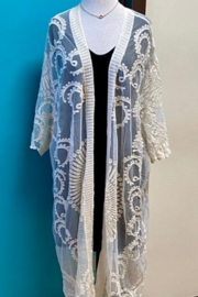 Dex Embroidered Mesh Duster Kimono - Front cropped