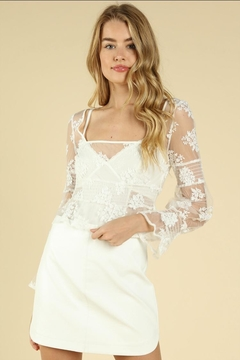 Wild Honey Embroidered Mesh Top - Product List Image