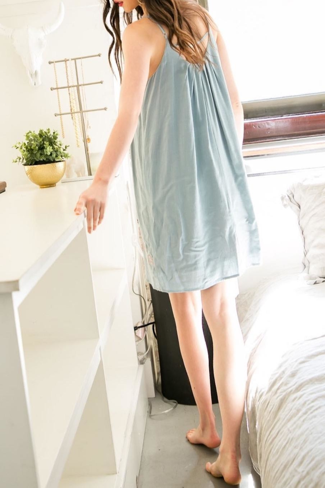 THML Clothing Embroidered Mini Dress - Front Full Image