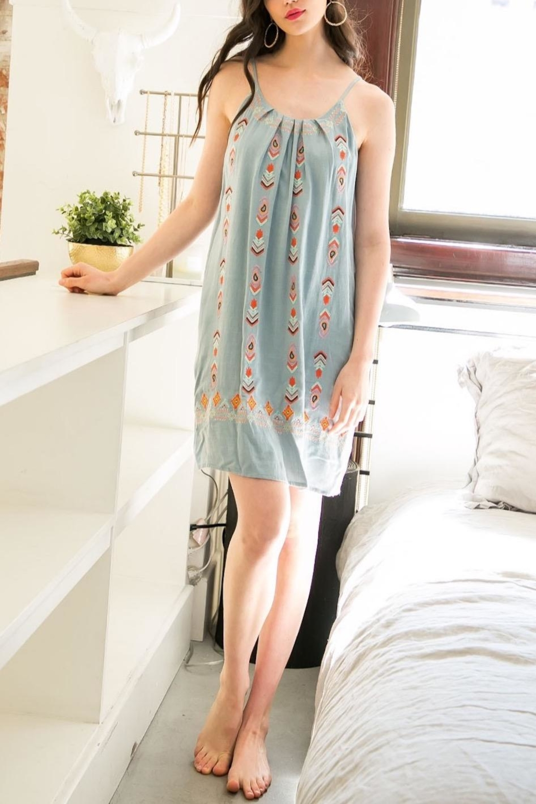 THML Clothing Embroidered Mini Dress - Main Image