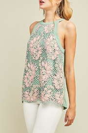 Entro Embroidered Mint Haltertop - Front cropped