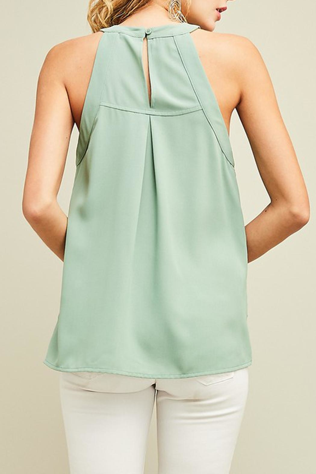 Entro Embroidered Mint Haltertop - Front Full Image