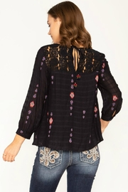Miss Me Embroidered Navy Top - Front full body