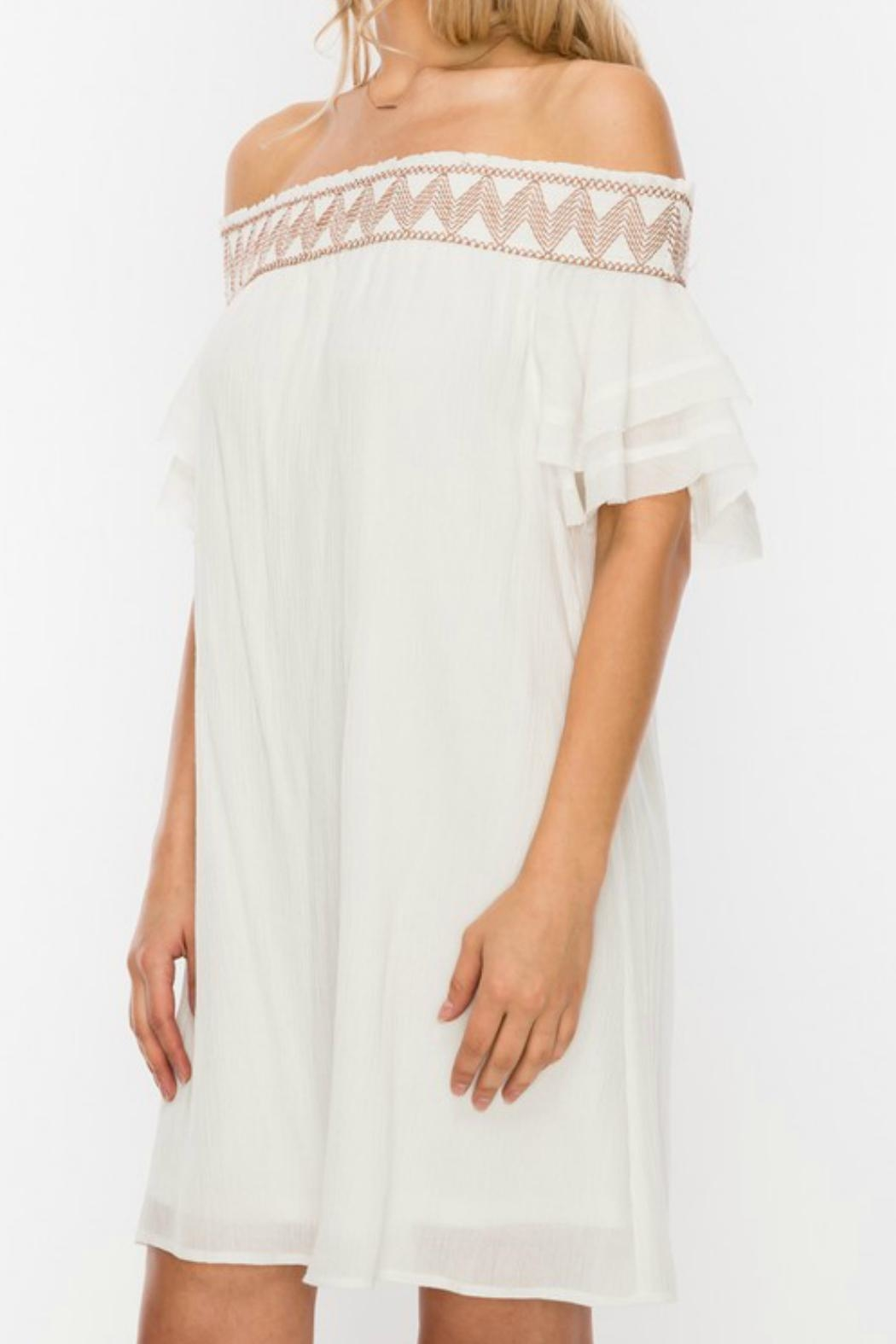 ALB Anchorage Embroidered Off-Shoulder Dress - Front Full Image