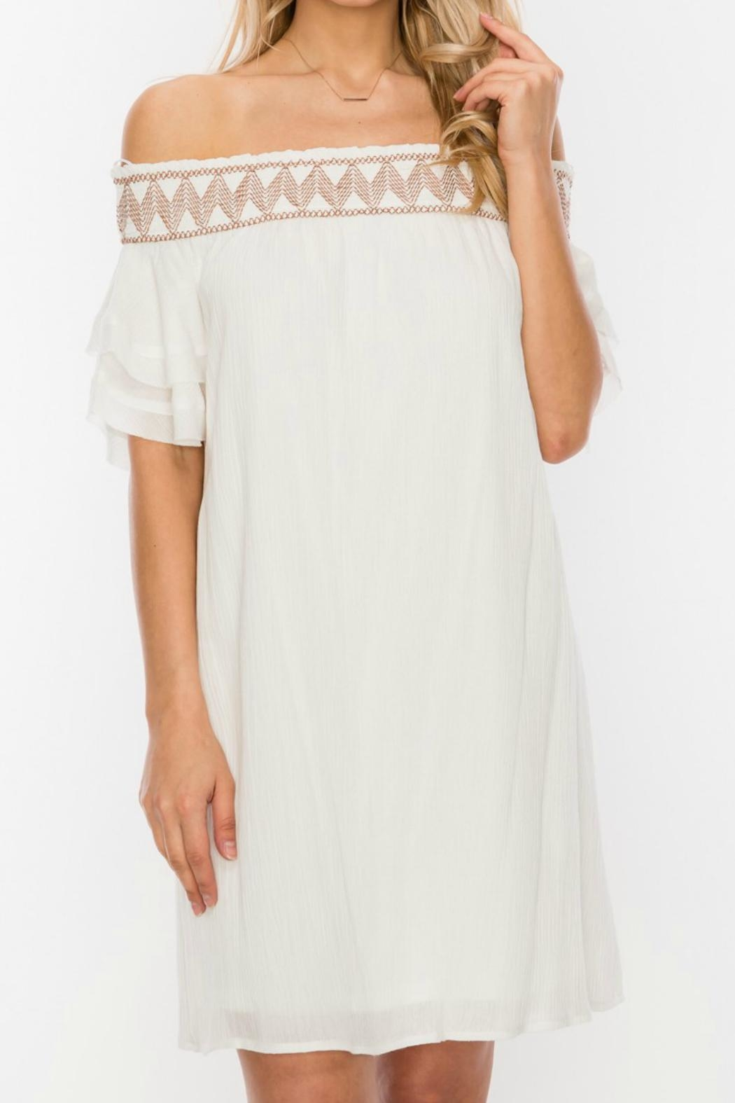 ALB Anchorage Embroidered Off-Shoulder Dress - Main Image