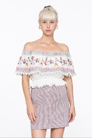 En Creme Embroidered Off-Shoulder Top - Product Mini Image
