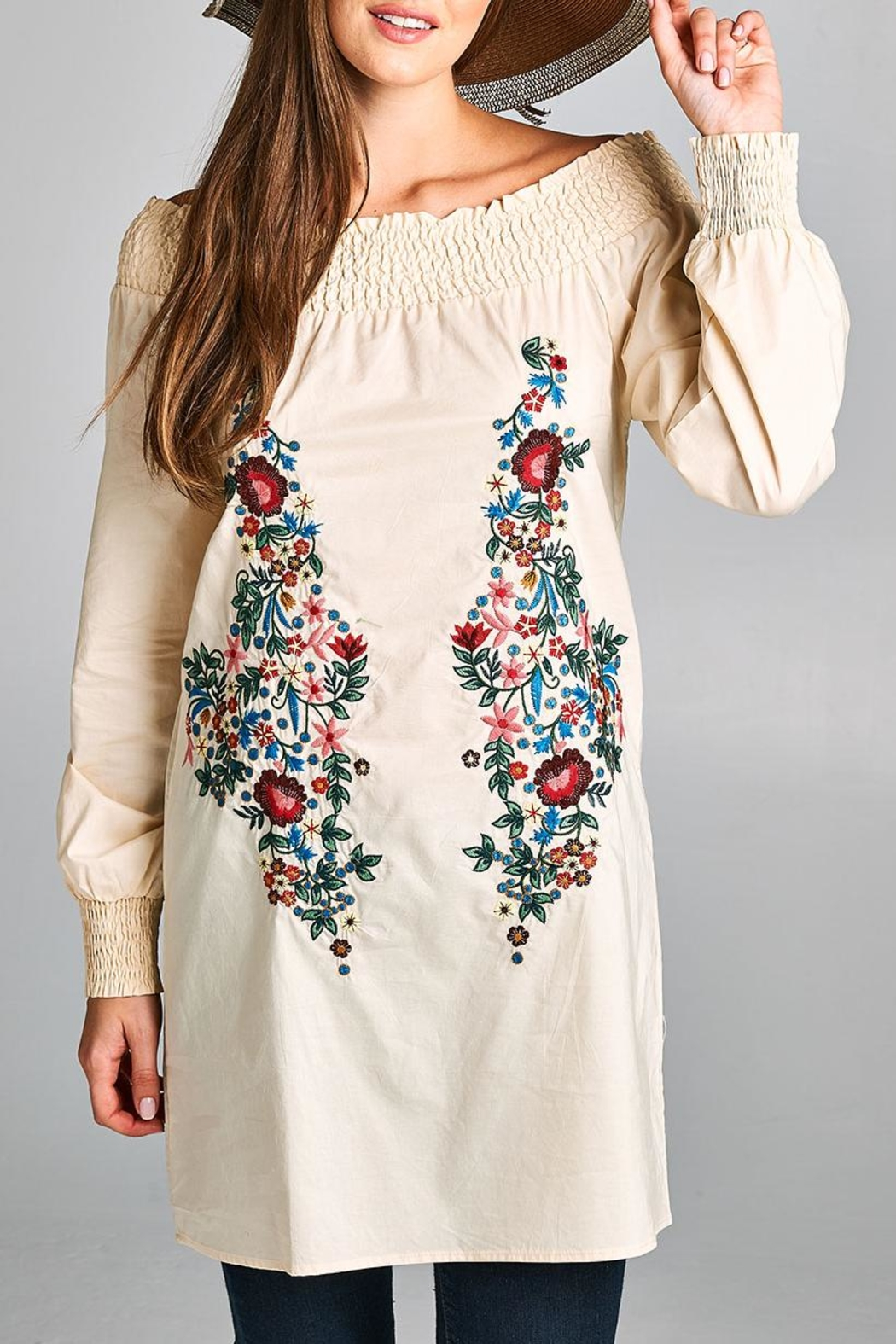 Velzera Embroidered Off-Shoulder Tunic-Dress - Front Cropped Image