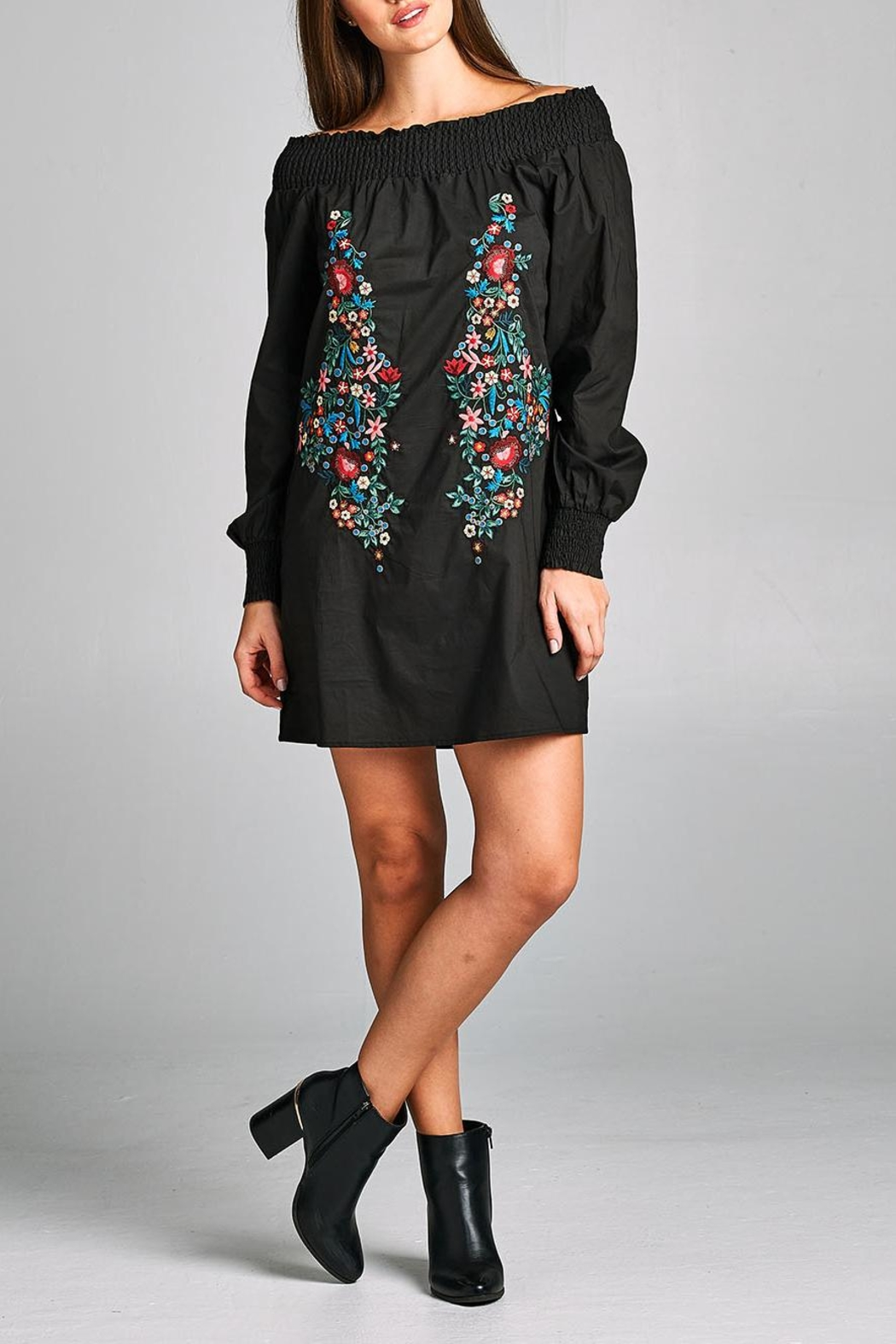 Velzera Embroidered Off-Shoulder Tunic-Dress - Front Full Image