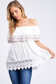 MONTREZ EMBROIDERED OFF THE SHOULDER CROCHET TOP - Product Mini Image
