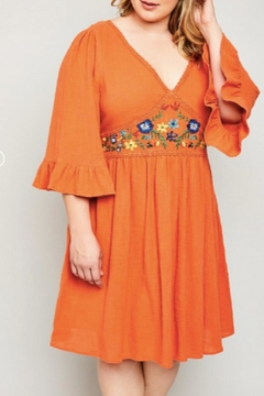 Hayden Los Angeles Embroidered Orange Dress - Alternate List Image