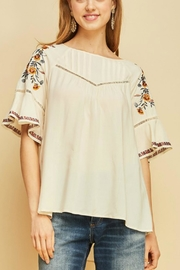 Entro Embroidered Paesant Top - Product Mini Image