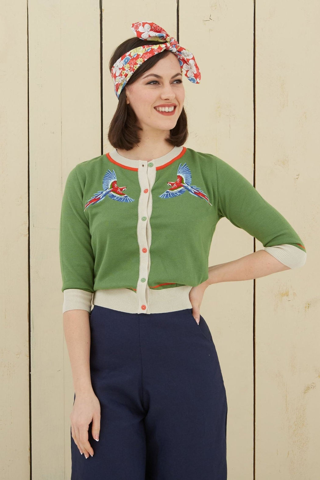 Palava Embroidered Parrot Cardigan - Front Full Image