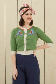 Palava Embroidered Parrot Cardigan - Front full body