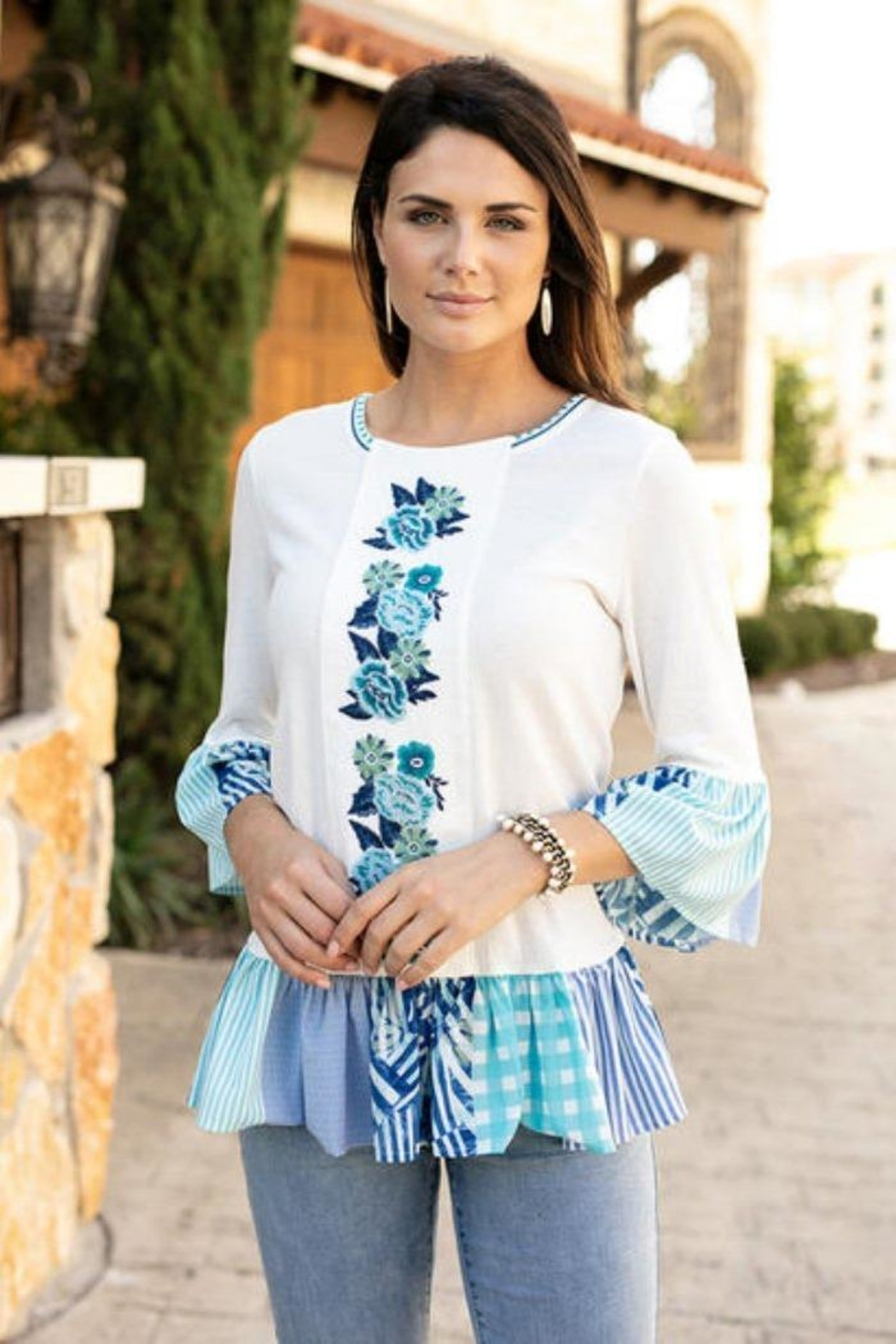 Sharon Young Embroidered Patchwork Tunic - Main Image