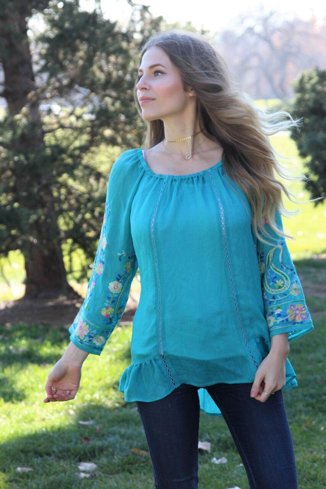 Olive Hill Embroidered Peasant Blouse - Main Image